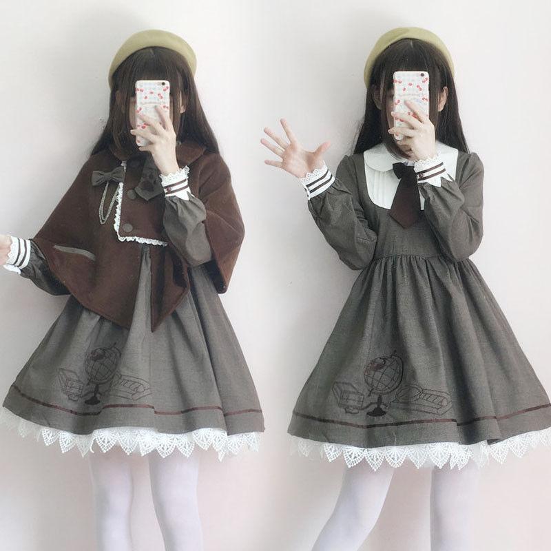 Vintage Japanese Sweet Lolita Princess Cloak Kawaii Mori Girl Preppy Style Dress