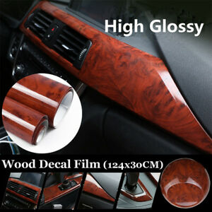 DIY Red Leather Texture Car Sticker Vinyl Wrap Sheet Interior Decor Air Release