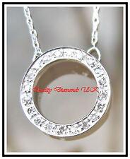 BEAUTIFUL DIAMOND CIRCLE PENDANT WHITE GOLD SPARKLING!!