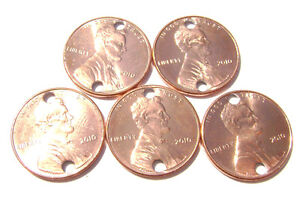 Charm-Link-Vintage-New-Copper-Lincoln-Penny-Coin-Hole-Drilled-1-Cent-made-USA