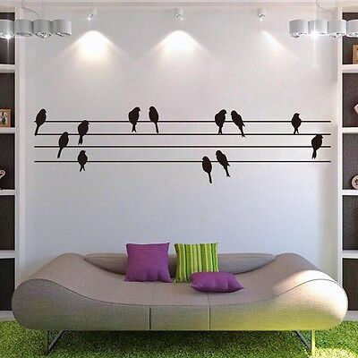 Birds On Wires Modern Living Room Wall Art Sticker Mural Decal Present Gift