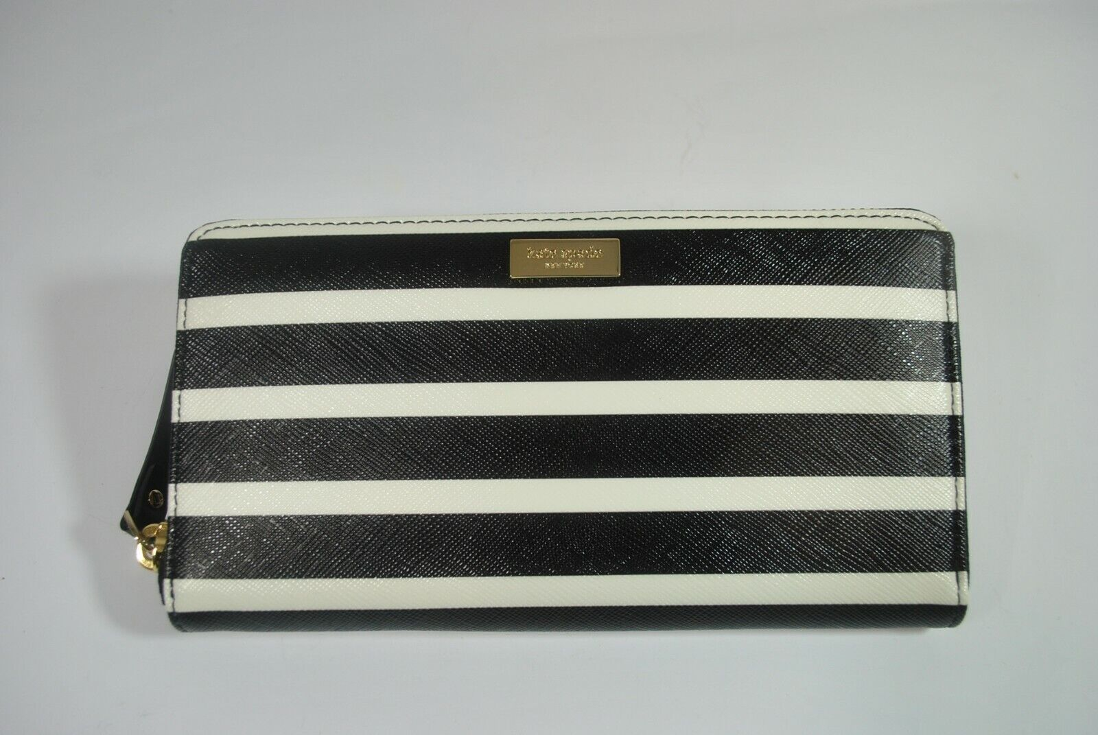 New W Tag Kate Spade Brightwater Drive NEDA ZIP AROUND WALLET-Black/white Stripe