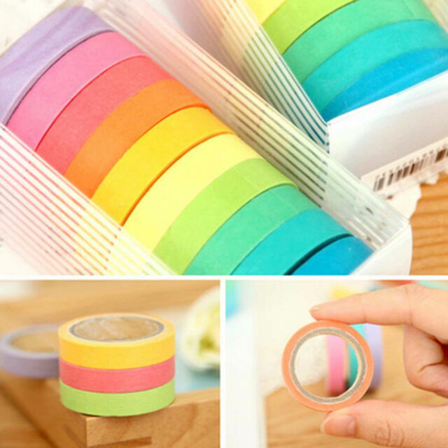 10 Rolls Adhesive Decor Paper Sticker Rainbow Cute Masking DIY Washi Tape Lot j