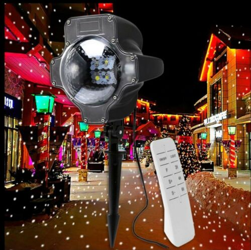 Snowfall Snow Flake Christmas Outside House LED Lights Projector Garden Lighting