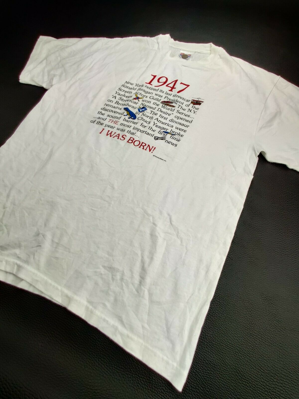 """Hanes Heavy Weight """"Vtg"""" Men's Large """"I Was Born … - image 5"""