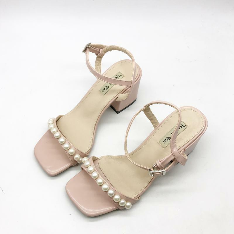 Holzschuhe hausschuhe 7 cm elegant Rosa perlen absatz quadrat sandalen simil     Online Shop Europe