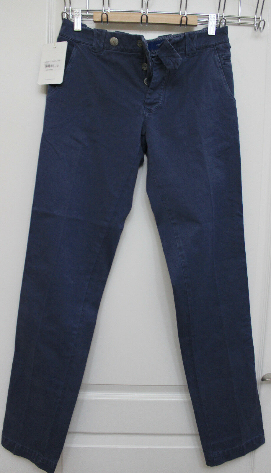 Mastai Ferretti men dark bluee cotton stretch casual pants size 30 X 34.5