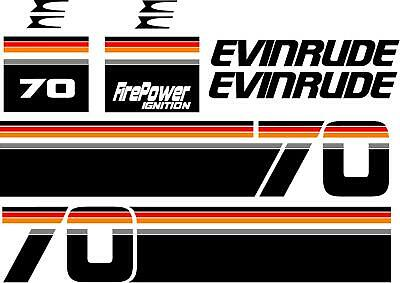 Evinrude Outboard 1970 S Through 1998 70 Hp Decal Kit Free Shipping Ebay