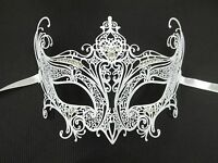 White Crystal Regal Wedding Laser Cut Venetian Mask Masquerade Metal Filigree