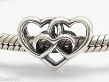 INFINITY HEARTS CHARM BEAD Sterling Silver .925 for European Bracelet 691