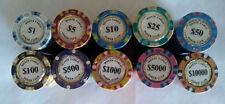 1000 poker chips 14 gram Monte Carlo label 10 denominations