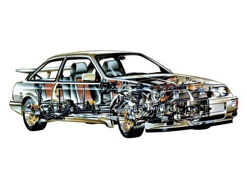A3 Ford Sierra RS Cosworth Rally Cutaway Drawing Wall Poster Art Picture Print