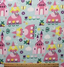 SNUGGLE FLANNEL *PRINCESS & CASTLES on PASTEL BLUE 100% Cotton Fabric*NEW* BTY