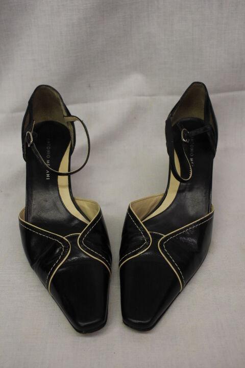 ANTONIO MELANI Black Leather Horsebit Slingback Heels, Vero Cuoio,Womens 7.5M-B9
