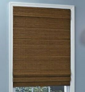 New with defects natural woven bamboo cordless roman shade for Natural woven flat fold shades