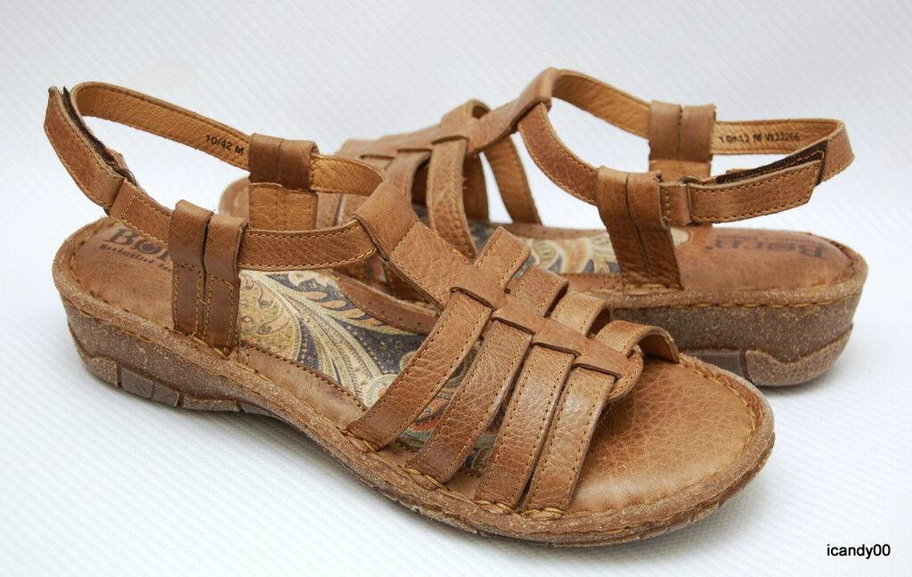 New  95 Born JOJO Women's Strappy Sandal shoes Flat Tan Brown W22266 10 42