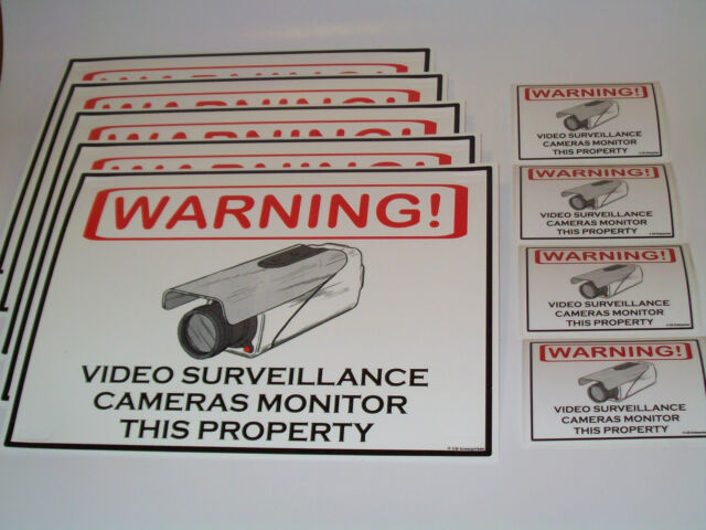 SECURITY CAMERA WARNING SIGNS LOT OF 5 + 4 SECURITY CAM DECALS *SHIPS FROM USA*