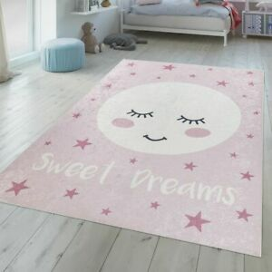 Details about Childrens Bedroom Rug Girls Washable Sleeping Moon Sweet  Slogan Pink White