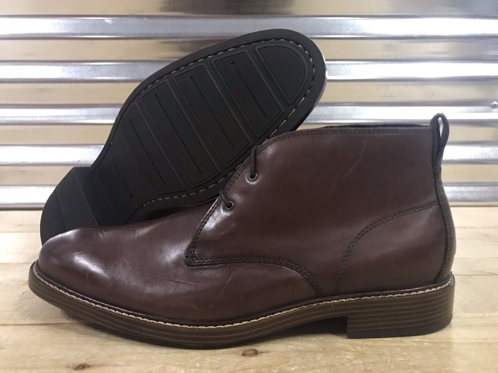 Cole Haan Kennedy Grand Chukka Ankle Boots Mahogany Brown Leather SZ ( C26109 )