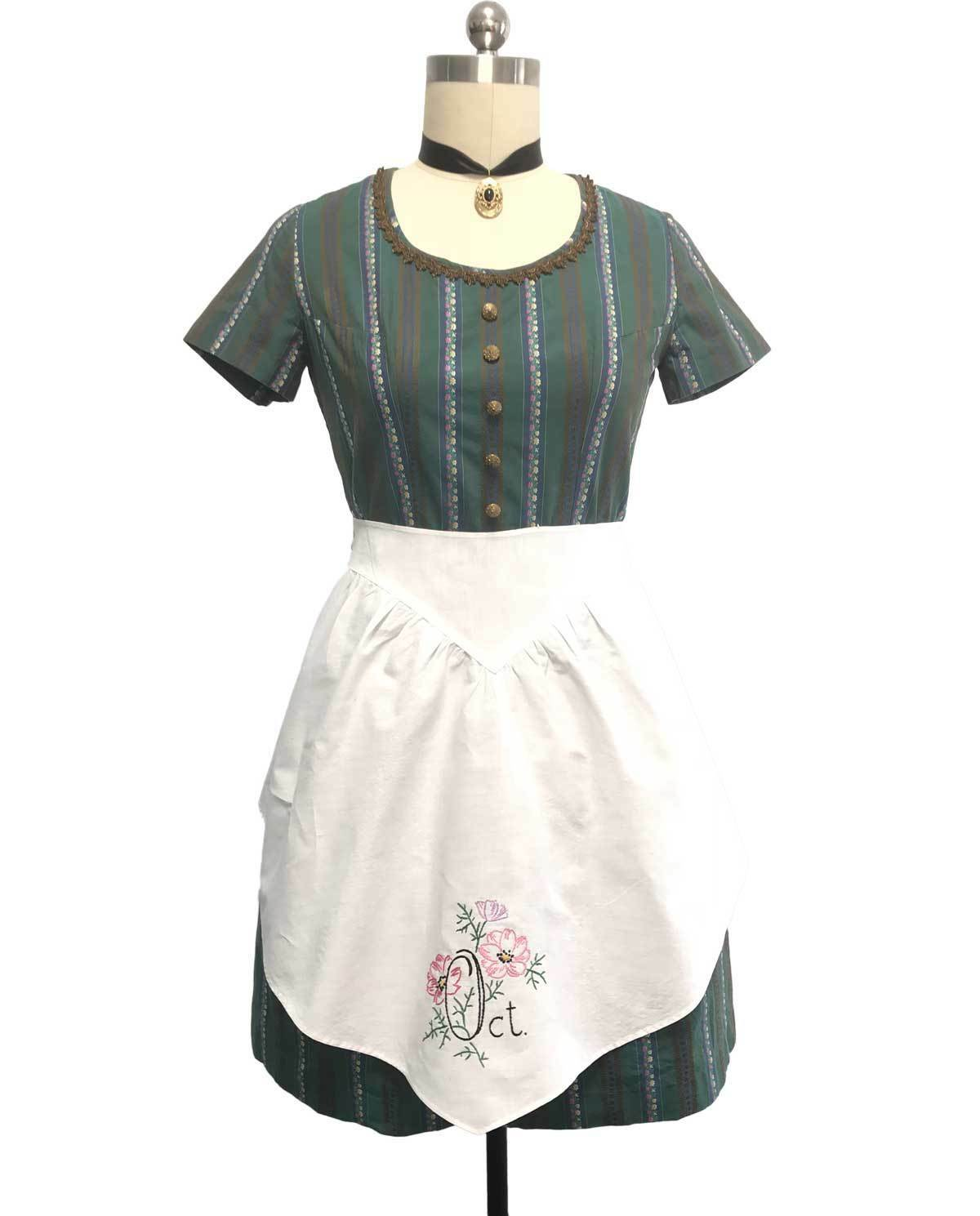Vtg Oktoberfest Handmade Green Dirndl Dress Short Sleeve w Apron sz 14US