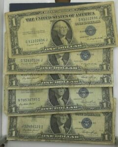 1-SILVER-CERTIFICATE-VERY-CIRCULATED-SOME-CONDITION-ISSUES-5-NOTES-PER-LOT