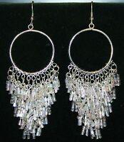 Iridescent Beaded Boho Gypsy Hippie Chandelier Belly Dance Dancing Earrings