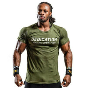 Mens-Summer-Gyms-Casual-T-Shirt-Fitness-Bodybuilding-Muscle-Male-Short-Sleeve