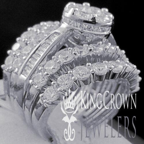10K White Gold On Silver Simu Diamond Engagement Ladies Ring 3 Piece Bridal Set
