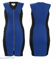 LADIES NEW BLUE CONTRAST LARGE ZIP BLACK CONTOUR BODYCON DRESS SIZE 16 - 26