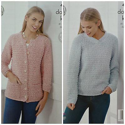 Tejer patrón para mujer Chaqueta con cuello en v puente frontpockets auténtico dk 4528