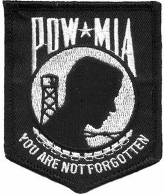 POW MIA NOT FORGOTTEN BLACK Military Vet Veteran MC Club Patch! PAT-1423