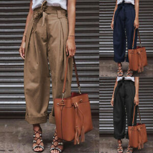 Jolie-Femme-Pantalon-Casual-Loose-Poches-Taille-Haute-Jambe-Large-Grande-Taille