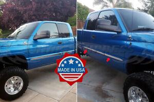 fit-1998-2001-Dodge-Ram-Quad-Extended-Cab-Flat-Body-Side-Molding-4Pc-Trim-1-5-034