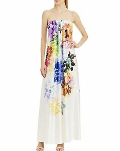 f111a6009915 NWT NICOLE MILLER NEW YORK Sz8 STRAPLESS FLORAL GOWN DRESS MULTI ...