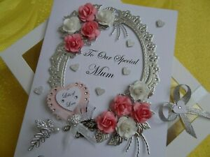 LARGE LUXURY Mother/'s Day//Birthday Card Handmade Personalised Boxed with Sequins