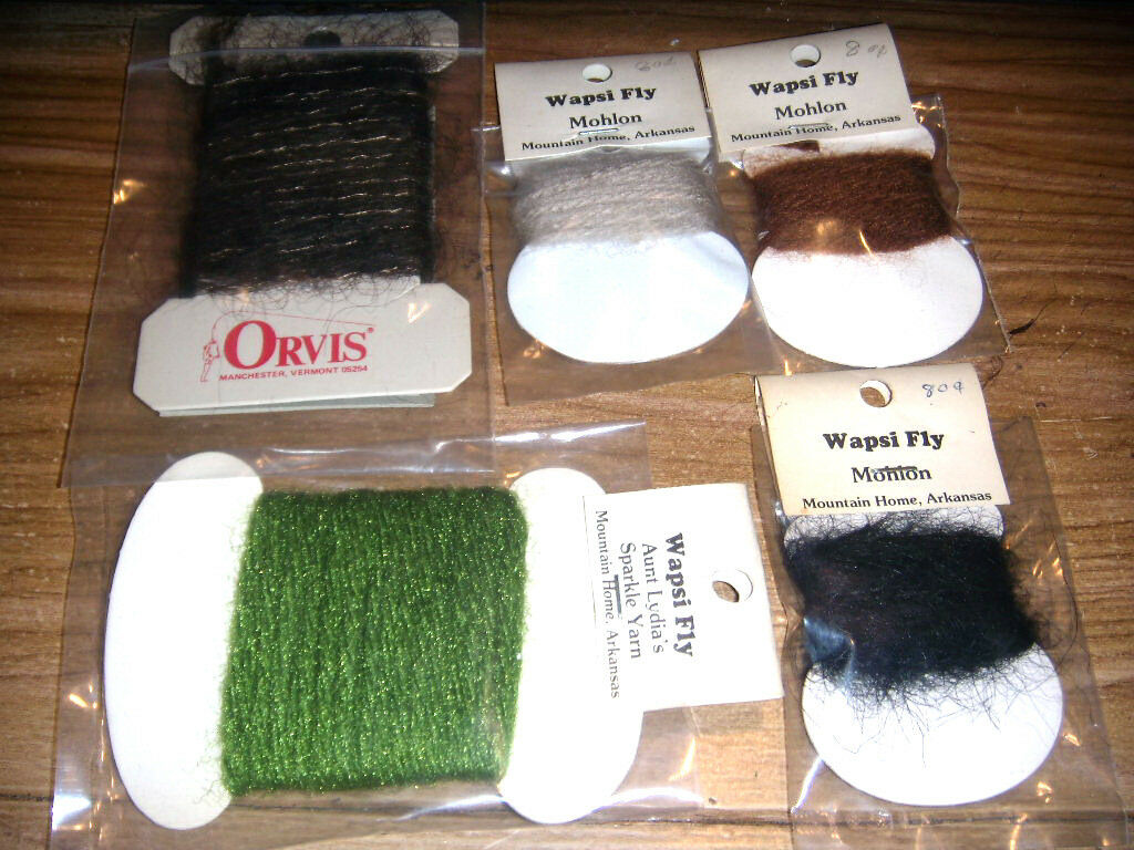 VINTAGE ORVIS-WAPSI- FLY TYING MATERIALS & MORE EGG YARN, SPARKLE,MOHLON,THREA