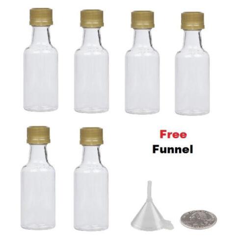 6 miniature liquor bottles GOLD caps