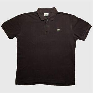 Homme-Polo-Lacoste-Large-5-marron-a-manches-courtes-en-coton