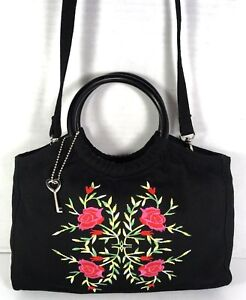 Fossil-Forever-Small-Black-Fabric-with-Rose-Print-Handbag-Shoulder-Bag