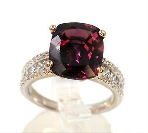 Rhodolite Garnet Diamond Ring 18ct White Rose Gold Engagement Dress Ring Ebay