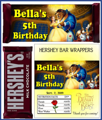 BEAUTY AND THE BEAST BIRTHDAY PARTY FAVORS CANDY BAR HERSHEY BAR WRAPPERS