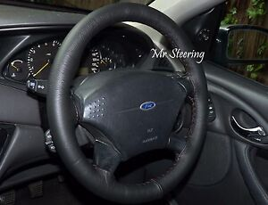 FITS-FORD-FOCUS-98-11-REAL-BLACK-ITALIAN-LEATHER-STEERING-WHEEL-COVER-NEW