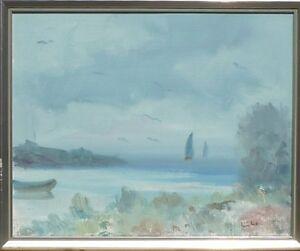 Eric Lo Ohlqvist 1914 Swedish Baltic Sea Coast With Boats Oil Painting Ebay