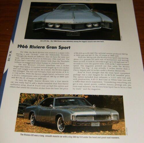 ★★1966 BUICK RIVIERA GRAN SPORT SPECS INFO PHOTO 66 GS★★