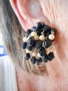 Authentic-Vintage-1940-039-s-Black-Glass-amp-Faux-Pearl-Waterfall-Screwback-Earrings