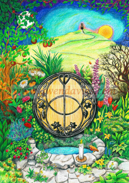 Chalice Well Greetings Birthday Card Drawn In The Uk Flowers Pagan