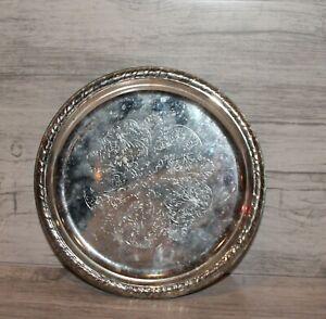 Vintage-floral-metal-round-serving-tray-platter