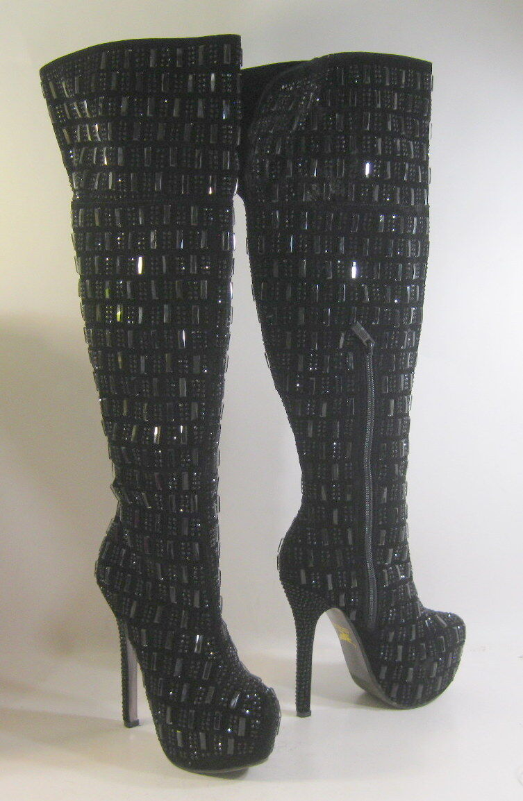 New Black Rhinestone 5.5 5.5 5.5 Stiletto High Heel 2 Platform OVER Knee Boots Size 6 a8adeb