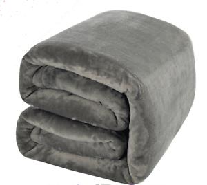 Fleece Blanket - Soft Warm Fuzzy Plush Lightweight Queen (90 x 90) Grey