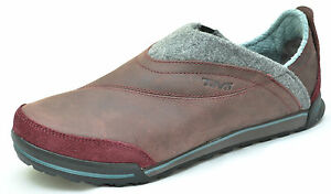 womens burgundy slip on shoes